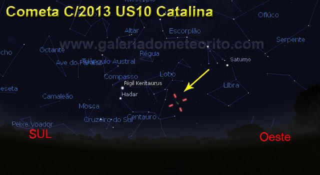 localização do cometa catalina em setembro e outubro