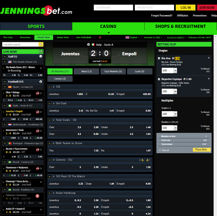 JenningsBet Live Betting Offers