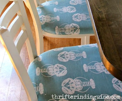 Kitchen Bar Stool Makeover with Blue Lobster Fabric