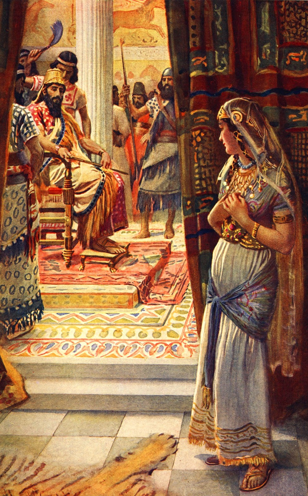 On the third day Esther put on her royal robes and stood in the inner court of the palace, in front of the king's hall.