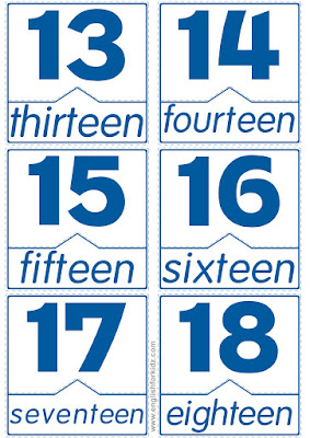 English numbers flashcards, free printables