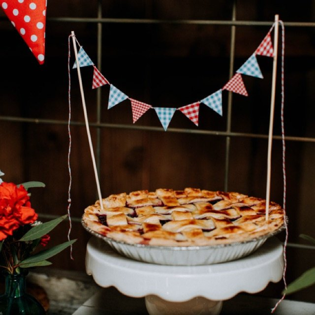 athenaandeugenia county fair party decor country gingham cake topper