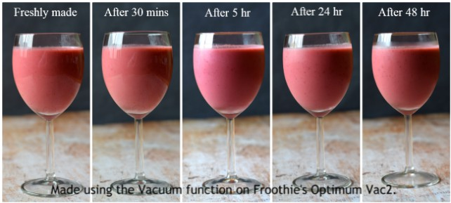 Raspberry & Mango Smoothie made using the vacuum function in Froothie's Vac2 blender