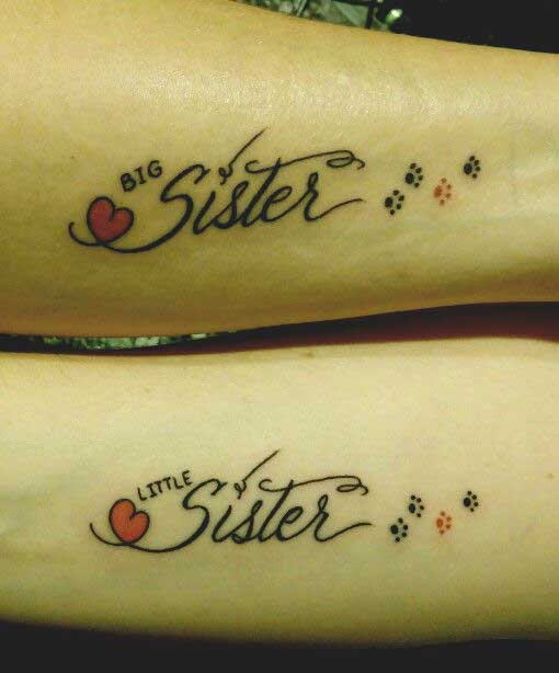 big sister and little sister matching tattoos