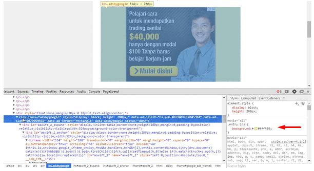 Cara Menghilangkan Background Kuning Iklan Adsense