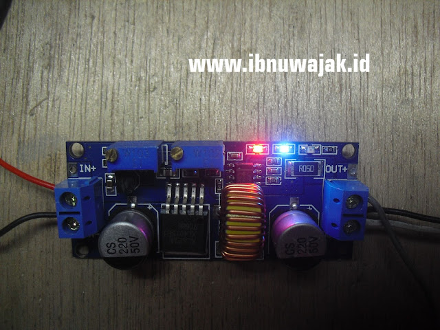 modul charger xl4015 cc cv 5A dc buck step down converter led merah biru
