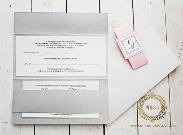 Simple - różowo-srebrne minimalistyczne zaproszenia ślubne