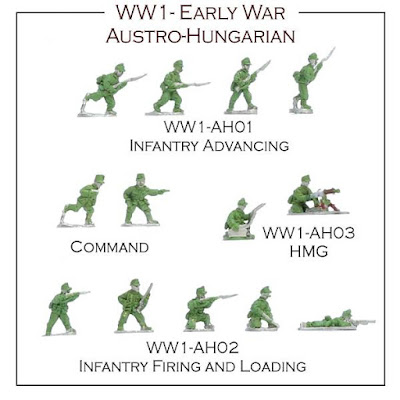 Early WW1 Austro-Hungarian Infantry Advancing , Infantry Firing and Loading and the HMG.