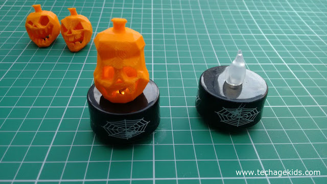 LED tealights with 3d printed pumpkins