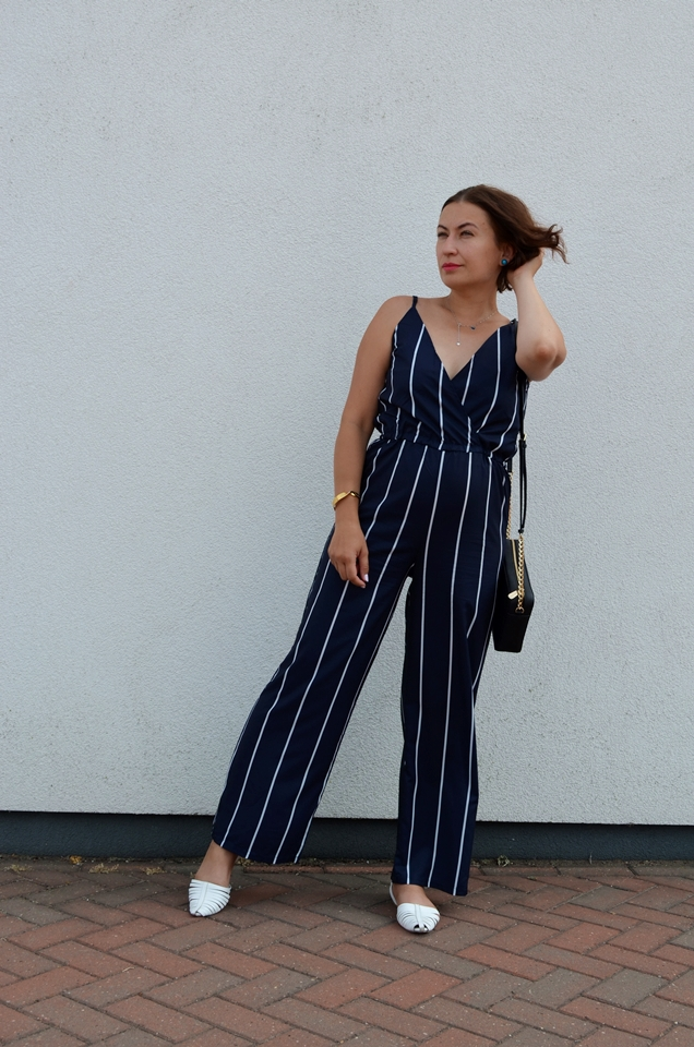 Adriana Style Blog, blog modowy Puławy, Fashion, Kombinezon Zaful, Letnia stylizacja, moda, Recenzja, Review, summer outfit, Zaful Playsuit, Navy Blue Playsuit, Stripes, Paski, Kombinezon,