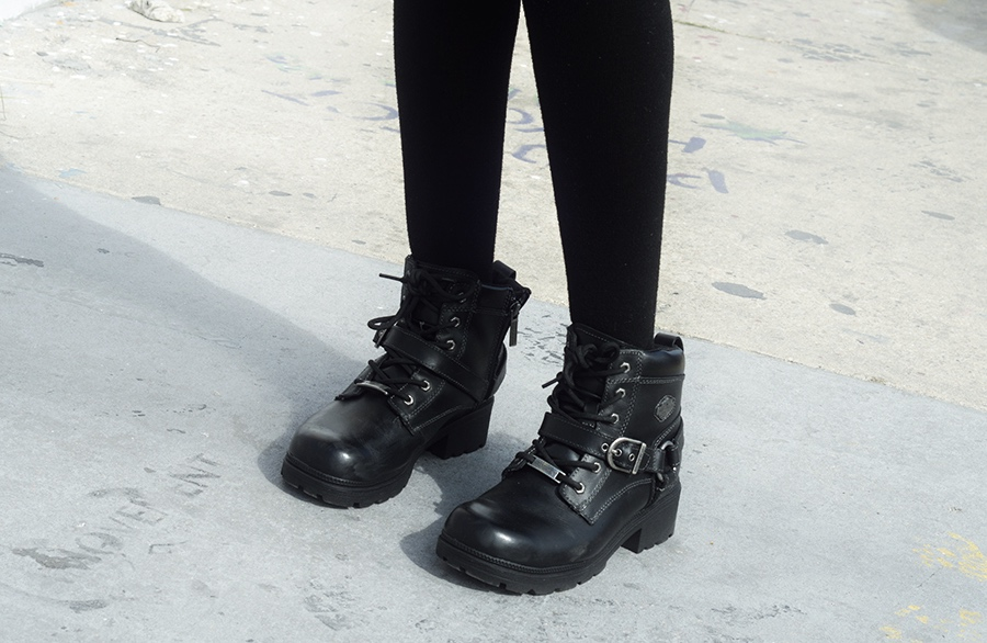 Tumblr Indie Fashion Blogger Anais Alexandre of Down to Stars wearing Harley-Davidson footwear boots