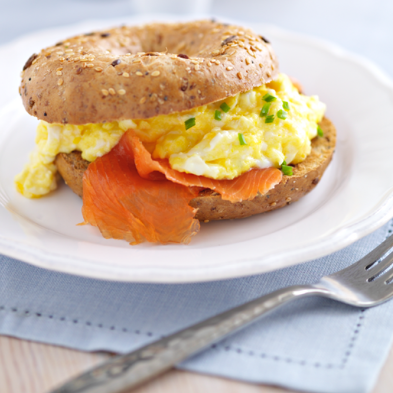 Scrambled Eggs With Smoked Salmon Bagels