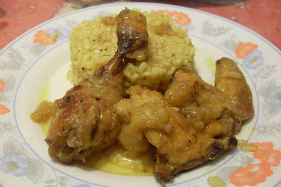 Pollo al curry con arroz especiado