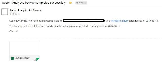 利用email通知備份功能寄送關鍵字報表備份信