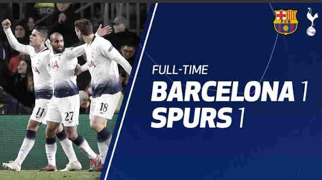 Hasil Barcelona vs Tottenham Skor Akhir 1-1