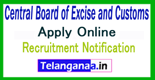 Central Board of Excise and Customs CBEC Recruitment Notification 2017 Apply
