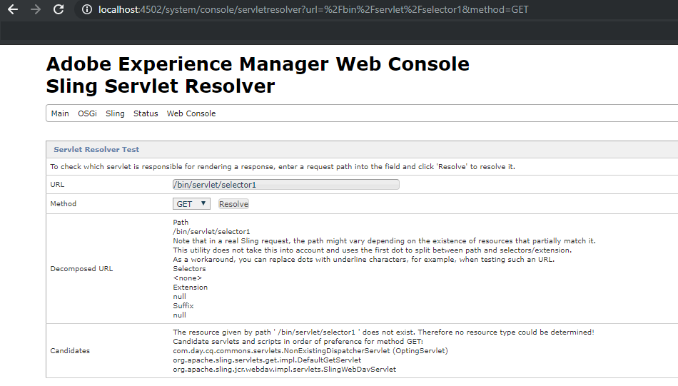 The Servlet status is disabled in AEM(Adobe Experience Manager) 6 4