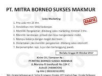 Lowongan Kerja PT. Mitra Borneo  Sukses  Makmur