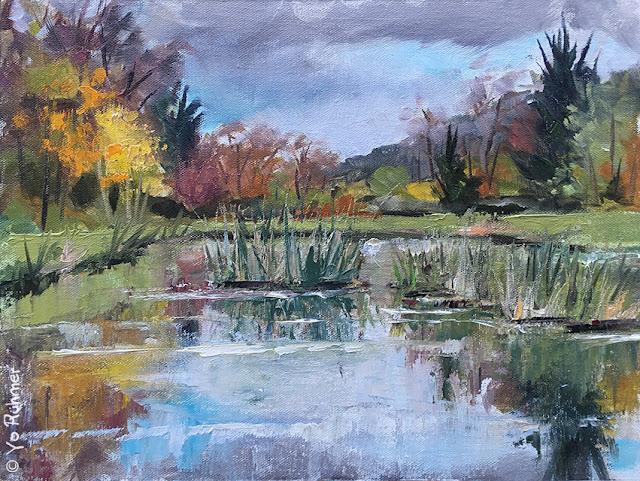 pond in autumn, pleinairpainting