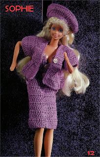 Roupa de Crochê Para Barbie Com Gráfico - Sophie - Robe, veste e chapeau de Poupée avec schéma, dress for doll