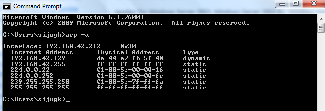 Table of ARP Cache on My Computer