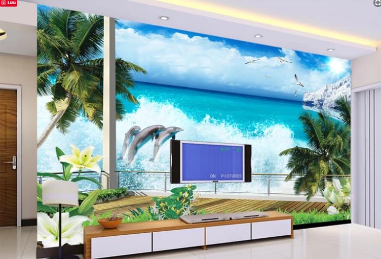 Tranh Phong Cảnh Cá Heo Và Biển