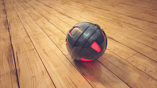 3D red color ball in the wood