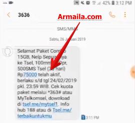 Selanjutnya akan masuk sms pemberitahuan dari 3636 ke nomor hp user bahwa paket combonya 15gb telah aktif