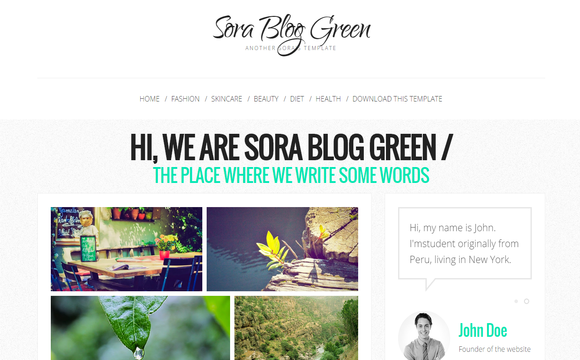 Sora Blog Green Blogger Template