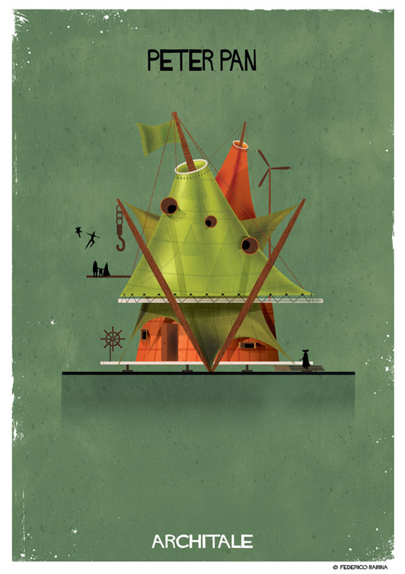 05126e199c5 Italian illustrator Federico Babina s latest series entitled Architale  imagines the architecture of fairytale characters by using the built form  to convey ...