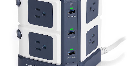 BESTEK Surge Protector 8-Outlet Power Strip and 40W 6-Port Smart USB