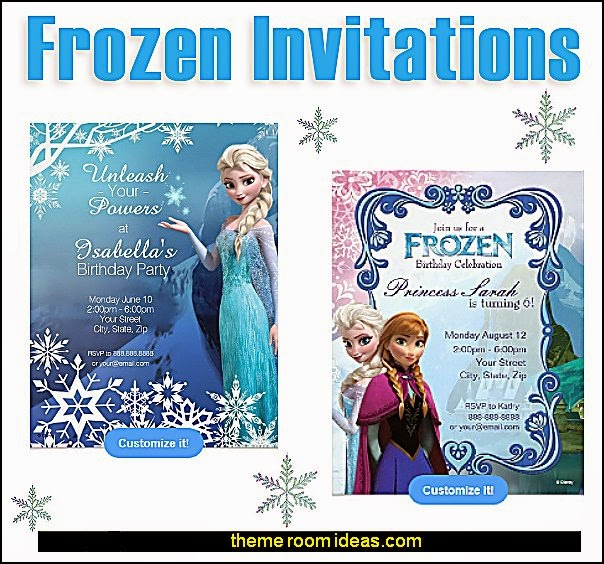 Frozen  Birthday Invitations  Frozen themed birthday party ideas - Disney Princess Costumes - Disney Frozen Party Supplies Elsa, Anna, Olaf  - Disney Frozen theme - Frozen Birthday Invitations - frozen party supplies winter wonderland theme - snowflake themed birthday party - frozen costume - Frozen costumes - Frozen Elsa costumes -
