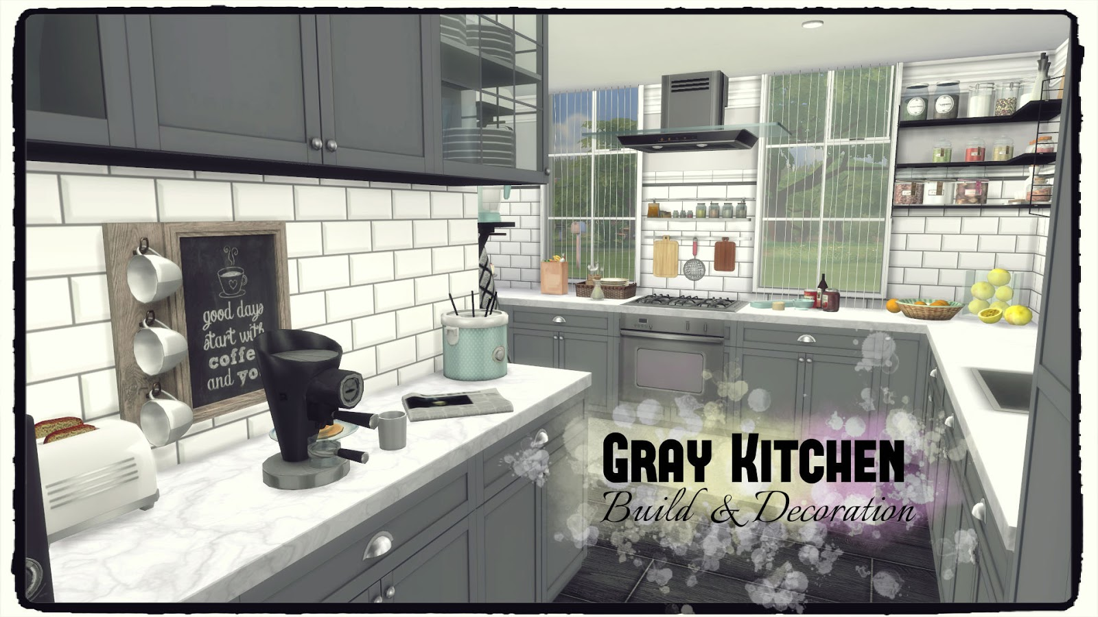 Sims 4 gray kitchen dinha for Sims 4 kitchen designs