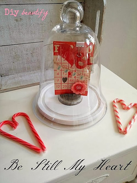vintage Bingo card Valentines display