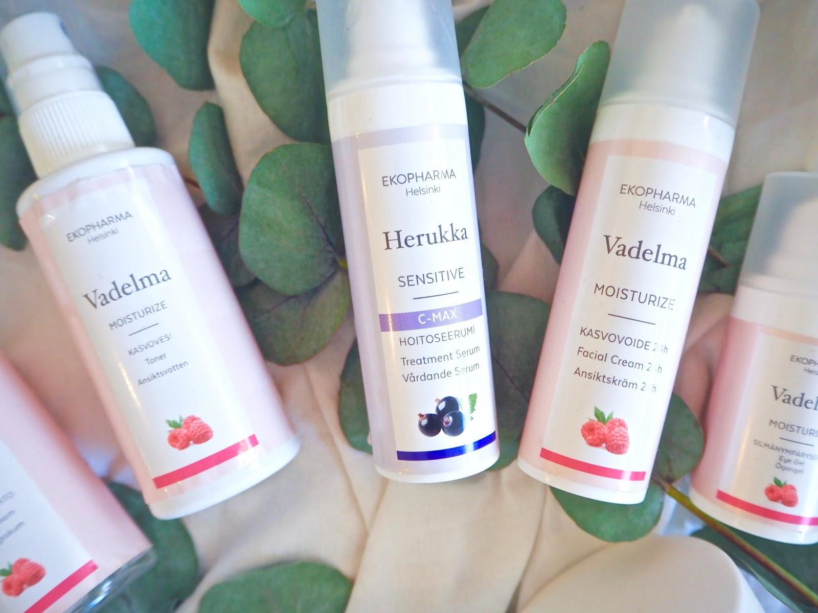 Ekopharman ekokosmetiikkaa: Vadelma-hoitolinjan sekä Herukka-hoitolinjan tuotteet ovat ihania!