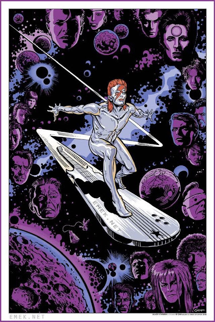 """Silver Starman (in Z-formation)"" David Bowie x Silver Surfer Art Print by EMEK & Gan"