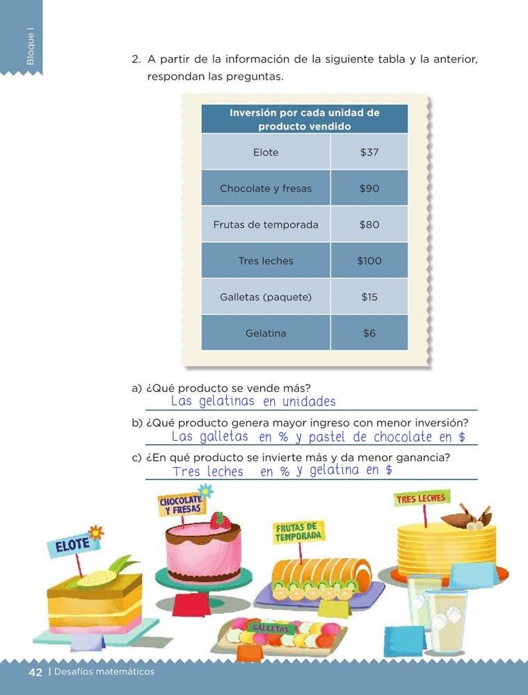 Libro de textoDesafíos Matemáticos¡Mmm... postres!Sexto gradoContestado