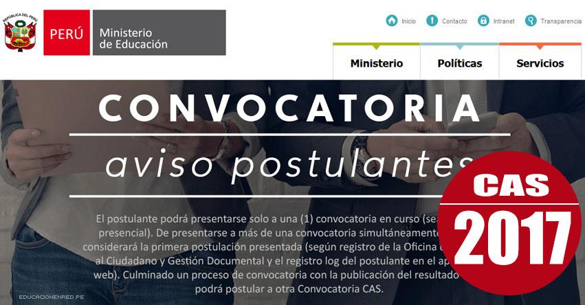 MINEDU: Convocatoria CAS FEBRERO 2017 - Más de 300 Puestos de Trabajo en el Ministerio de Educación - COAR - www.minedu.gob.pe