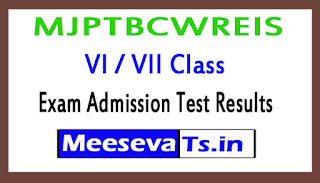 MJPTBCWREIS VI / VII Class Exam Admission Test Results 2018