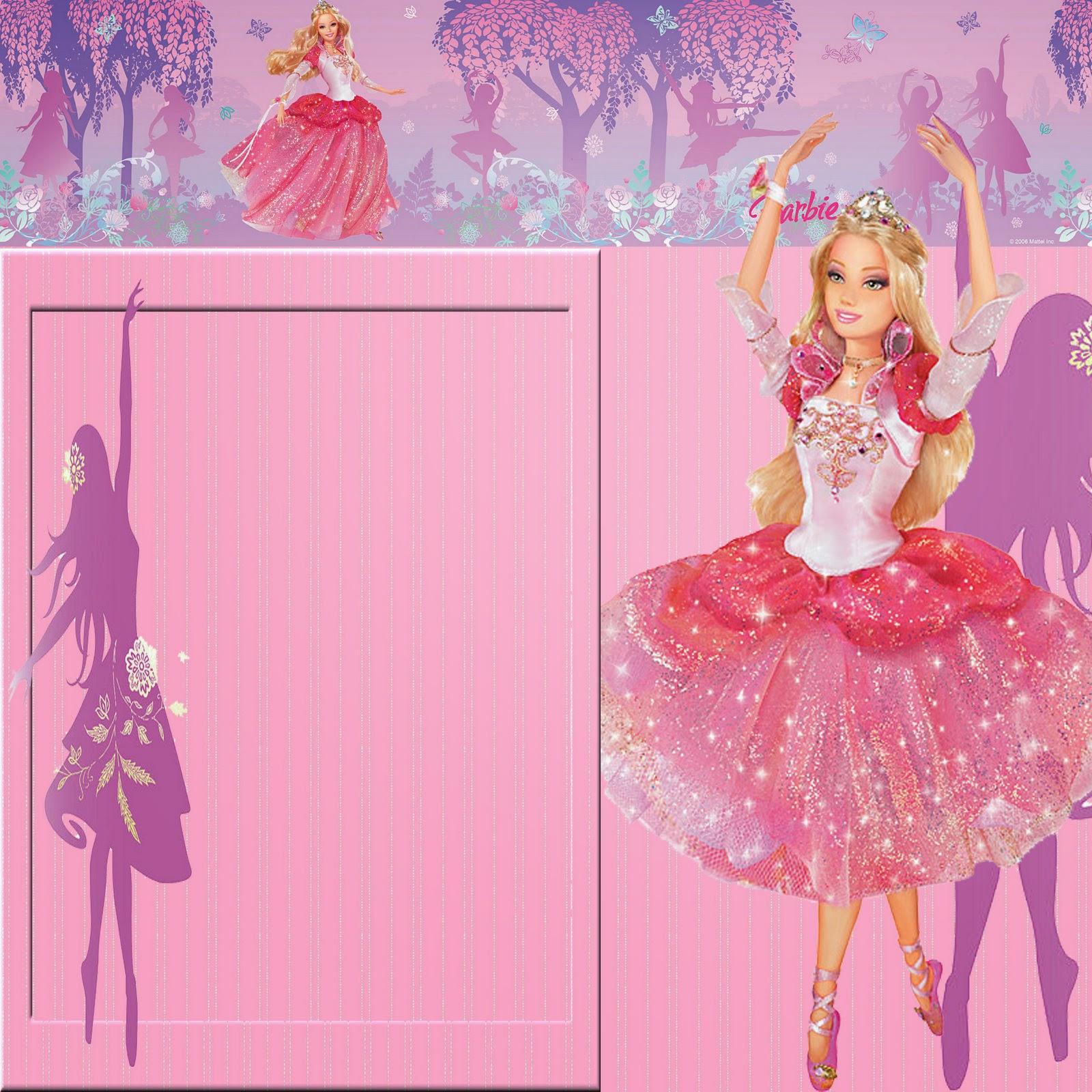 Invitaciones O Marcos Para Fotos De Barbie Para Imprimir