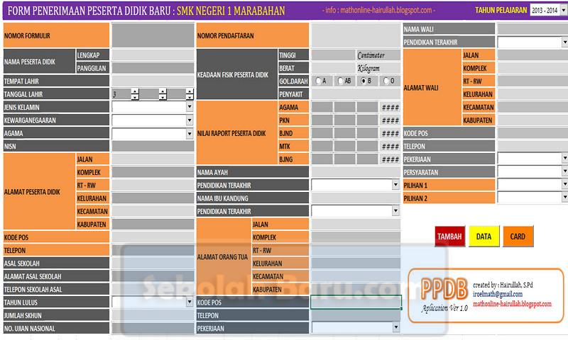Aplikasi PPDB SMK Excel Gratis