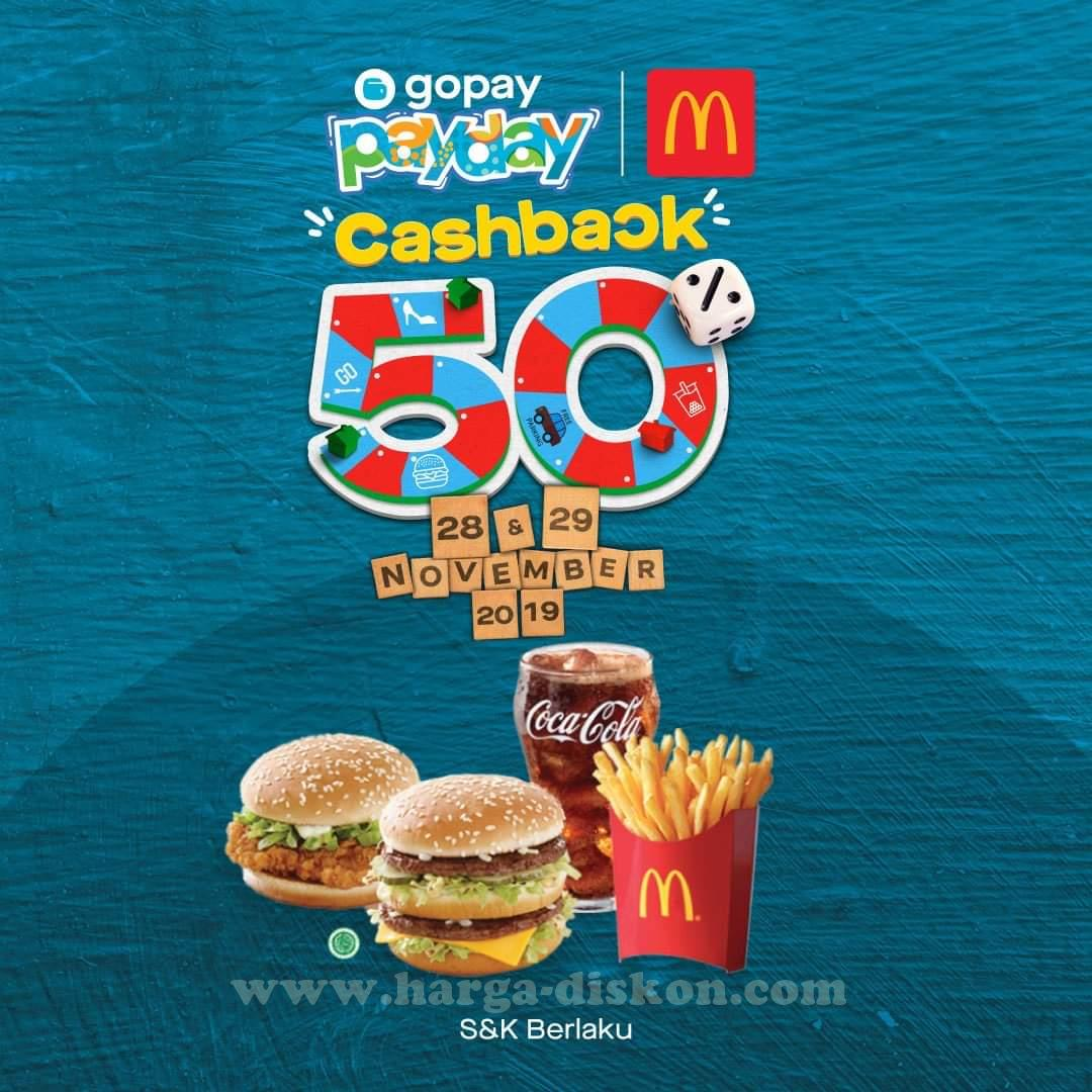 Promo Mcdonalds Terbaru Gopay Payday Cashback 50 Periode 28 29 November 2019 Harga Diskon