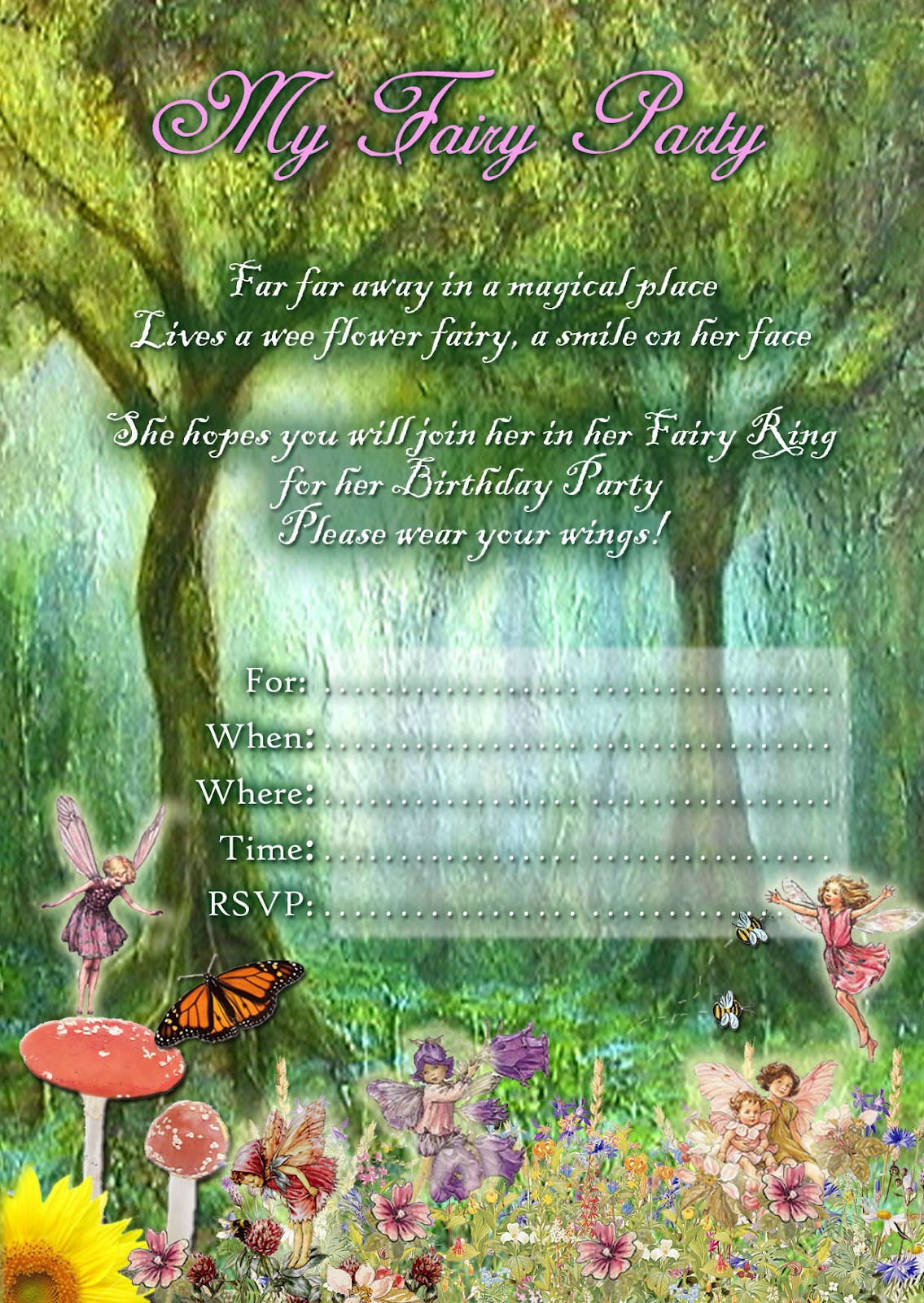Eloquent image throughout fairy birthday invitations free printable