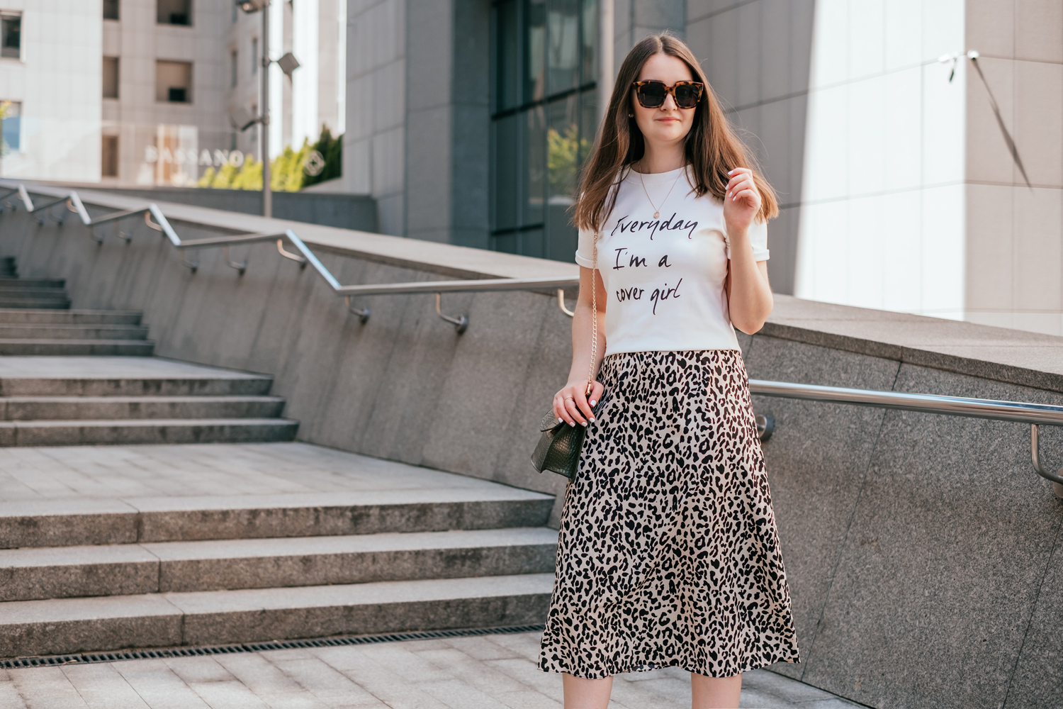 Leopard skirt outfit for summer