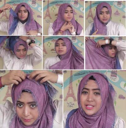 Tutorial hijab segi empat simple ala natasha farani terbaru