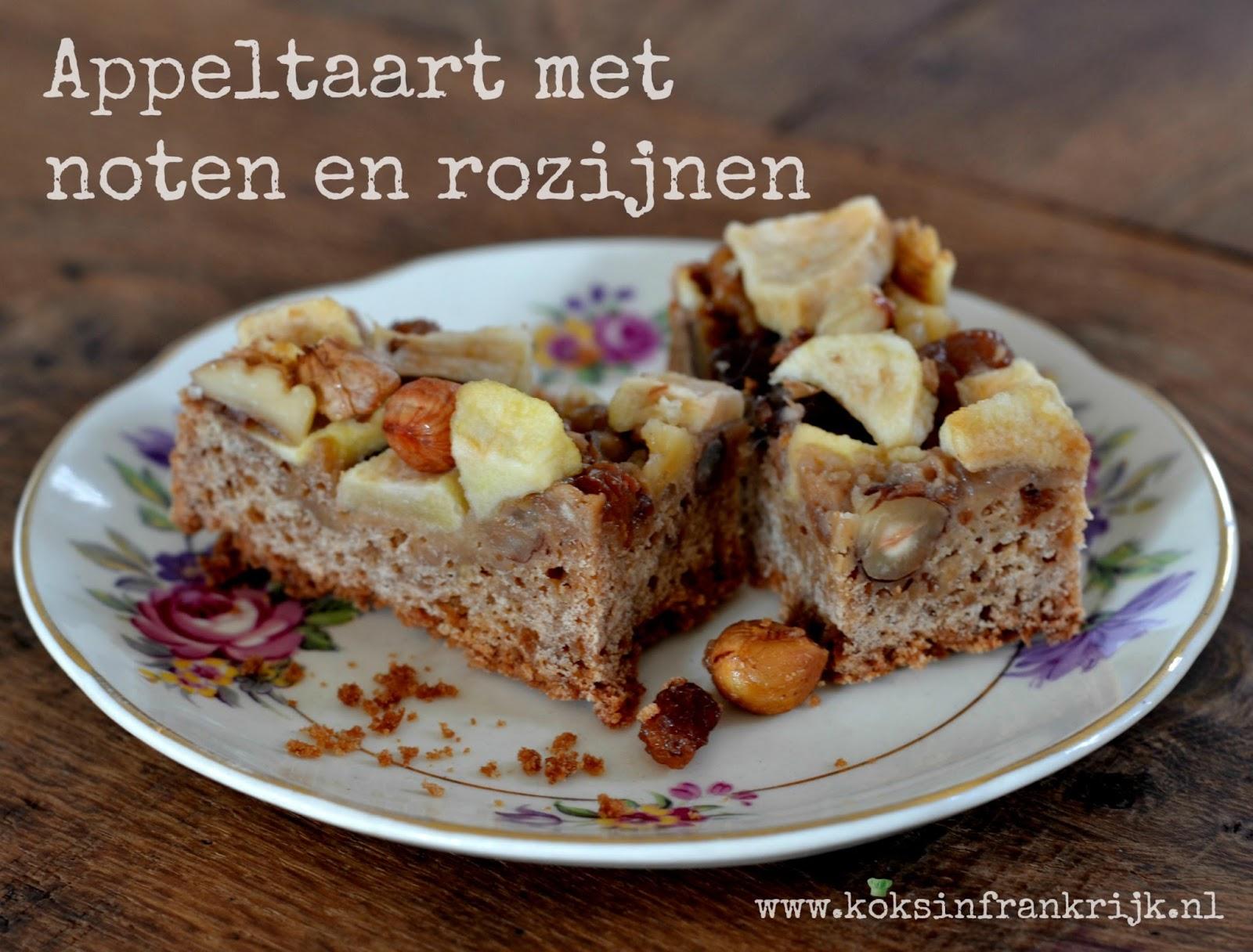 Recept voor makkelijke appeltaart met noten en rozijnen.