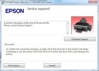 Printer Epson Lampu LED Tinta dan Kertas Berkedip, Cara Reset Printer Epson 355 Menggunakan Tool Resetter.