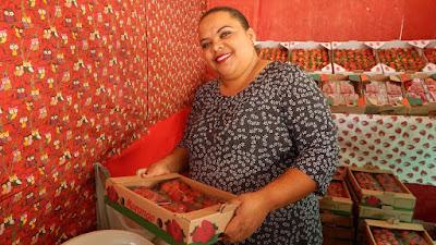 A Festa do Morango ocorre em julho, quando a Ludmila vende a safra do Júlio.