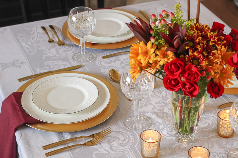 A Warm Burgundy & Gold Thanksgiving Tablescape