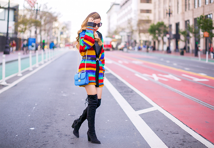 Rainbow cardi, hermes belt, valentino lock bag, steve madden over the knee boots, OTK boots, Karen walker sunglasses, san francisco street style, holiday sale 2016, san francisco fashion blog, j crew sale, banana republic sale